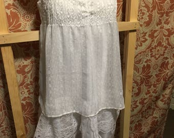 Upcycled Romantic Country Style White Lace Dress - Wedding