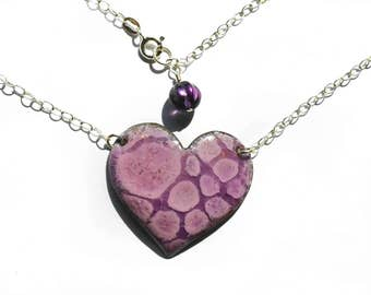 Pink and Purple Bubbles Vitreous Enamel  Heart Necklace