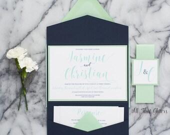 mint green wedding invitation suite navy blue wedding invite mint and coral wedding invite - Navy And Coral Wedding Invitations