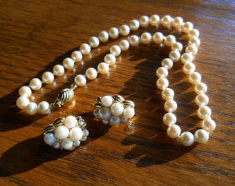 Choker Necklace and Earring Set Hand Knotted Faux Pearl Signed Marvella Jewelry Set Vintage