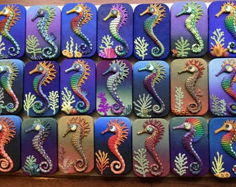 Altoid type hinged tin with polymer clay seahorse