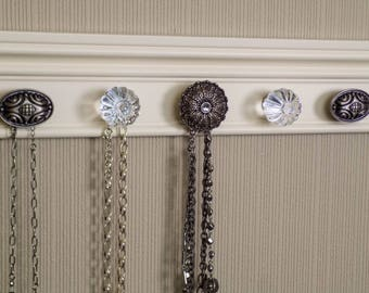 You choose 5, 7 or 9 knobs  Jewelry organizer Off  White  wall jewelry holder rack  Great gift of jewelry storage and decor