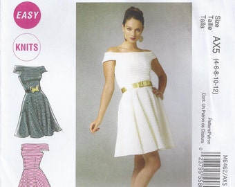 Lined Stretch Knit Dress With Close Fitting Bodice Extending Into Straps Stephanie O Size 4 6 8 10 12 Sewing Pattern 2011 McCall's 6462