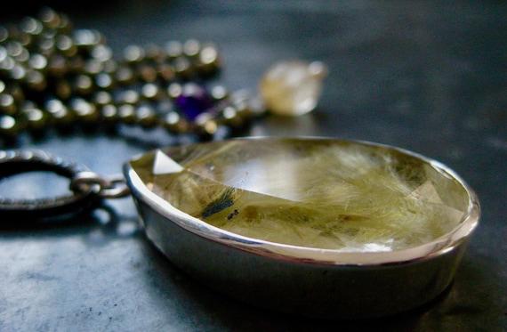 KARUNA  Pyrite, Rutilated Quartz, Diamonds Pendant Necklace