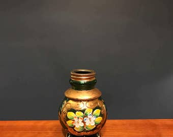 Green Glass Gilded Bottle