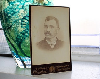 Antique Photograph Victorian Man with Mustache 1800s Cabinet Card