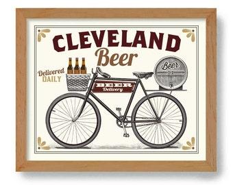 Personalized City Name Beer Bottle Hometown Beer Art Bicycle Art Beer Gift Craft Beer Keg Beer Sign Cycling Mans Gift Bike Rider Cleveland