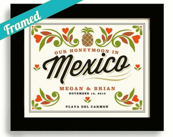 Mexican Wedding Unique Engagement Wedding Mexico Honeymoon Bridal Shower Framed Gift for Couples Pineapple Spanish Decor Heart Theme