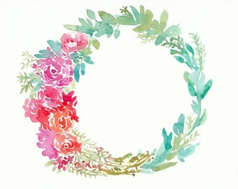 pink, green, and red floral wreath, original watercolor painting, 8x10, leaves, flowers, spring