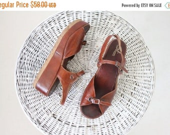 SALE Vintage 70's Sbicca Cork Wedges / 10