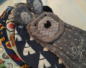 Baby Bear in Grey Arrow, teether, toy, pacifier holder, burp cloth, take to the bath, beach, or pool, i am 100% cotton terry and i wash easi
