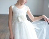 Flower girl dress, first comunion dress, silk communion dress, flowergirl dress, ballerina dress, tulle flower girl dress