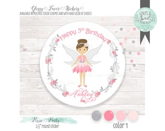 Pixie Fairy party Favor Sticker.  Personalized with name, phrase & hair color. Favor glossy sticker round. Muliple QTY size and colors