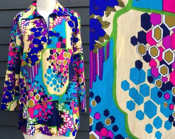 Vintage micro mini dress . Nature Tech Honeycomb . Psychedelic Acid gogo zip up mockneck . super short
