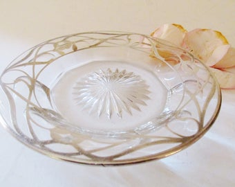 Vintage Glass and Sterling Plate or Coaster, Sterling Overlay Saucer, The Silver Tassel, Romantic Decor