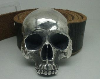 Human Skull Belt Buckle Sterling Silver