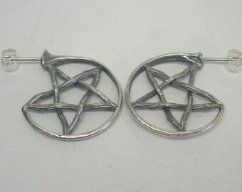 Twig and Snake Rib Pentagram Statement Earrings - Silver