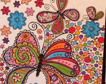 Girl's Nursery Canvas Art, Butterflies, Flowers & Paisley's, Young Girl's Butterfly Wall Hanging, Cheerful Butterflies and Flower Doodle Art