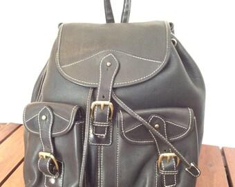Large Vintage Genuine Black Leather Rucksack Backpack Bag Rugged Drawstring Purse Made in Usa