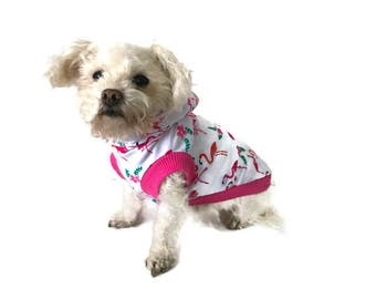 Flamingo Dog Hoodie - Dog Clothes - Dog Shirt-Sleeveless Dog Hoodie-Dog Clothing -Dog Sweater-Clothes for Dogs - Dog Hoodies