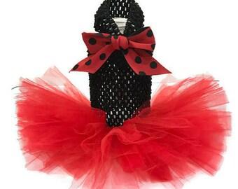 Cat tutu-Red and Black Cat Tutu-Ladybug Costume for Cats -Ladybug at Costume-Cat Dress-Cat Clothes-Black Cat Dress-Cat Clothing-Cat Custume