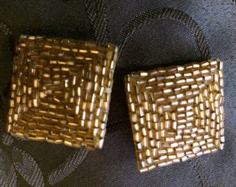 Vintage Gold Beaded Clip On Earrings