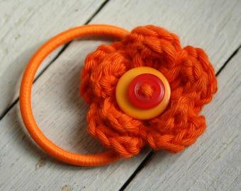 Bright Orange Crochet Flower Hair Bobble with Buttons