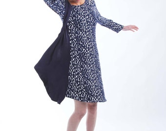 Jersey Dress with Asymmetrical Neckline and Hemline with Elbow or Long Sleeves
