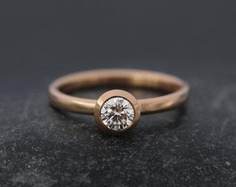 Diamond Engagement Ring - 18K Rose Gold Engagement Ring - Solitaire Diamond Ring - Made to Order Engagement Ring - FREE SHIPPING