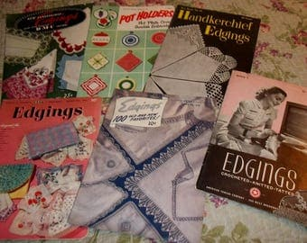 Vintage, Crochet Books, Crochet Edging, Lot of Five Books,