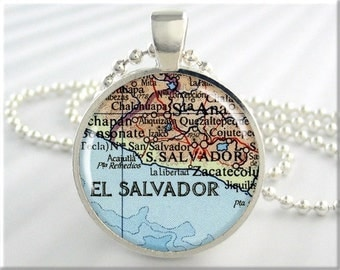 San Salvador Map Pendant, El Salvador Necklace, Resin Picture Jewelry, Map Necklace, Gift Under 20, Round Silver (688RS)