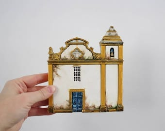 Vintage Chalkware Church Wall Plaque Hanging - Church of Our Lady of Ajuda Made in Brazil