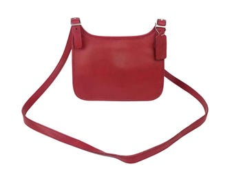 Vintage Coach Red Leather Purse // Small Cross-Body Shoulder Messenger Bag, Fold-over Hippie Flap, Magnetic Snap Closure, Made in USA 9142