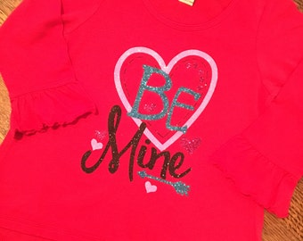Be Mine girls Valentine's Day shirt! Girls Valentine's Day shirt, be mine