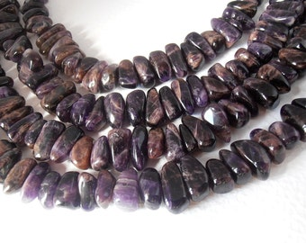 "Natural Gemstone Amethyst Center Drilled Tumble Polished Large Nugget Beads 16"" Full Strand  / Liquidation / Close Out Prices 1 - 4 Strands"