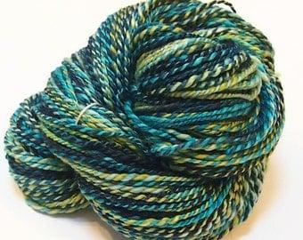 DK/ Heavy Sport weight Handspun yarn - Polwarth/Silk - 236 yards of handspun 2-ply yarn - 5 ounce skein - Undulata