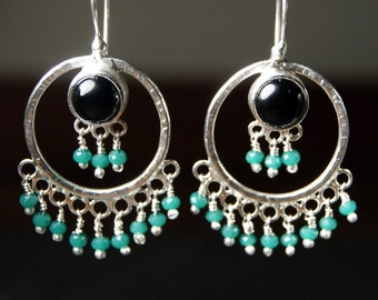 Black Onyx, Forged Silver and Sea Green Glass Statement Earrings