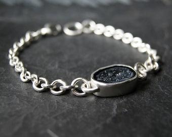 Midnight Geode Druzy Bracelet in Sterling Silver