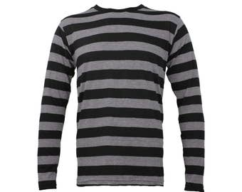 Men's Long Sleeve Black & Stone Grey Striped Shirt
