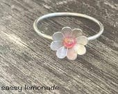 Sterling Silver Opal Flower Ring / Hand Forged Ring / Dainty Stacking Ring