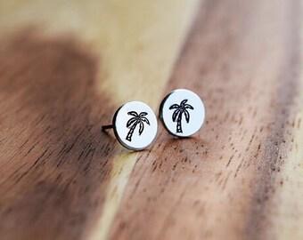 Palm Tree Earrings / Palm Trees in Paradise Hand Stamp Surgical Steel Post Earrings / Dainty Post Earrings