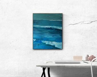 The surfers ,Hookipa -Maui - Hawaii- oil painting print,fine art,wall art print,breaking waves,ocean view,