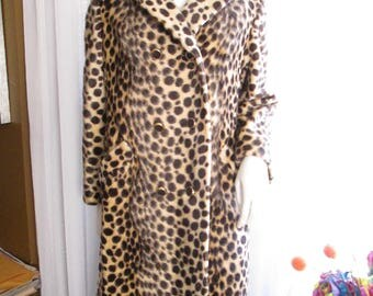 Vintage Ladies Leopard Fun Fur Double Breasted COAT by SAFARI