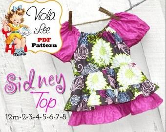Girls Sewing Patterns. Peasant Dress Top. Peasant Top Pattern. Girls Top Pattern pdf. Girl's pdf Pattern. Toddler Sewing Pattern. Sidney