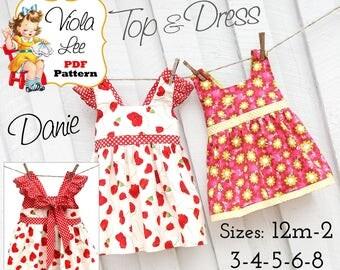 Danie Girls Dress Pattern pdf Sewing Pattern. Toddler Dress Sewing Patterns. Girls Summer Dresses. Girls Top Pattern. Toddler Dress Pattern.