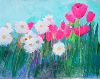 """Colorful Floral Painting, Abstract, Loose Flowers on Paper, Original Artwork on Paper, """"Tulips and Daisies in the Garden"""" 18x24"""""""