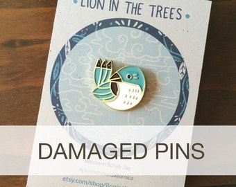 DAMAGED Cutie Scrub Jay Bird Enamel Pin