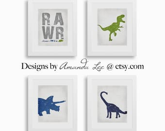 Dinosaur Art Print - Four 8x10 Set - Kids Art - Triceratops Art - Designer Set 18