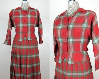 Now On Sale // Vintage Early 1960s Plaid Suit 60s Red Wool Plaid Suit with Pleated Skirt by Suzanne Size M 26 Waist