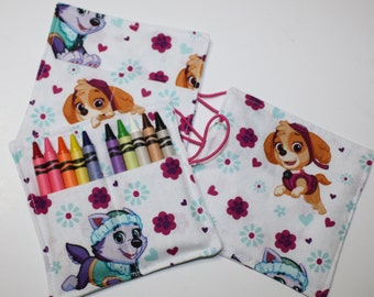 Paw Patrol Pups, Everest & Skye, Birthday Party Crayon Rolls Party Favors, made from Paw Patrol Pups fabric, Paw Patrol Birthday Party Favor
